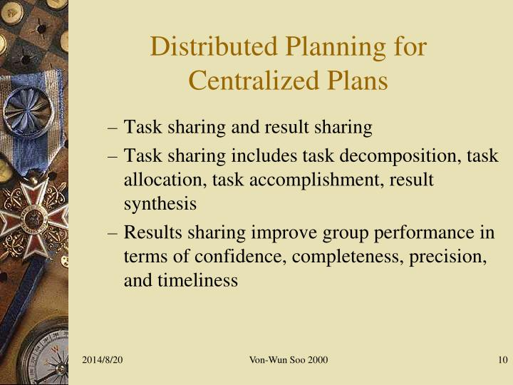 Distributed Planning for Centralized Plans