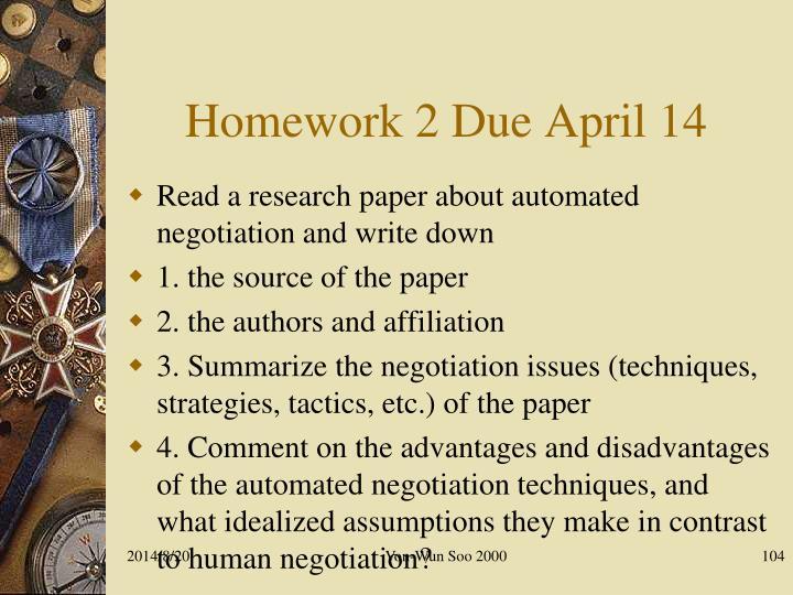 Homework 2 Due April 14