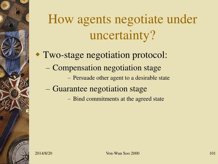How agents negotiate under  uncertainty?