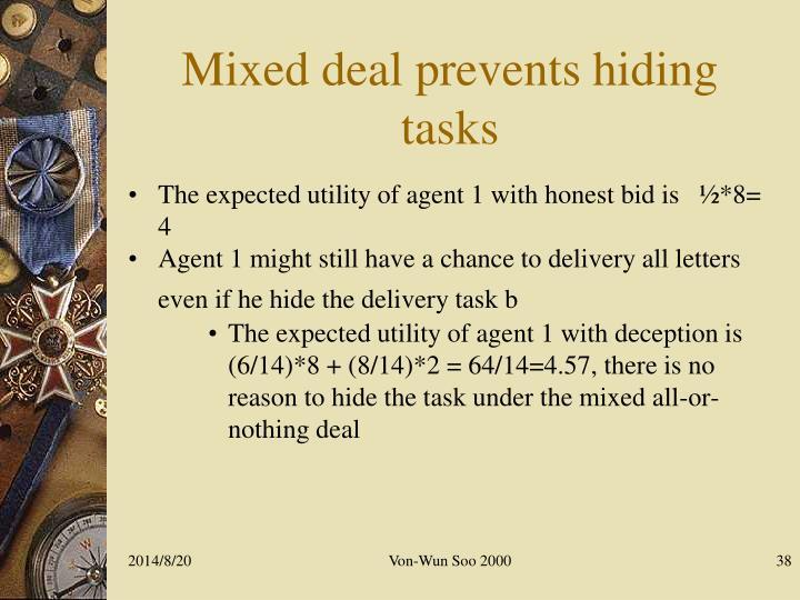 Mixed deal prevents hiding tasks