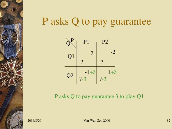 P asks Q to pay guarantee