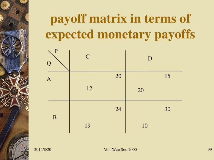 payoff matrix in terms of expected monetary payoffs