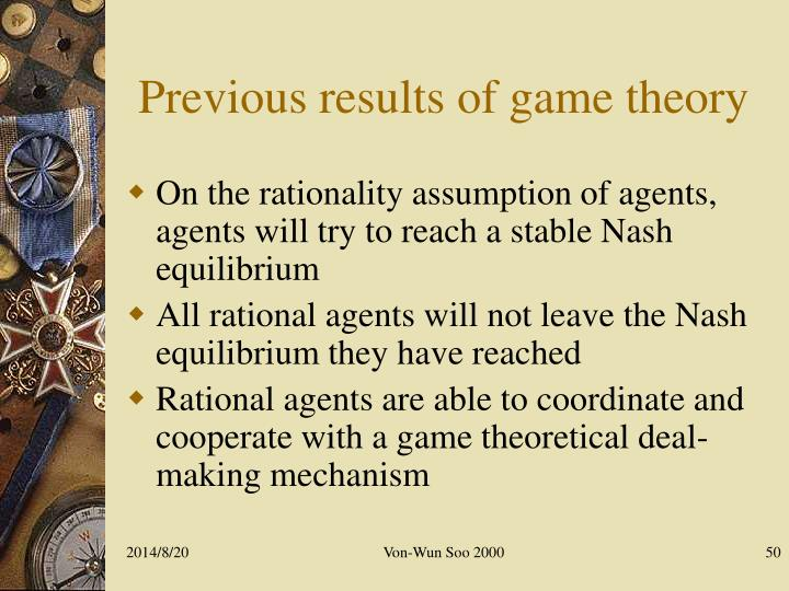 Previous results of game theory
