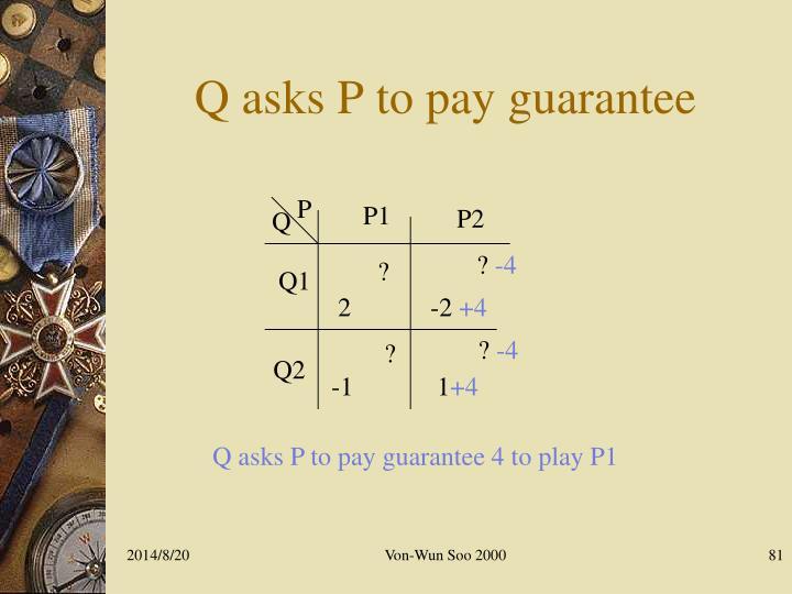 Q asks P to pay guarantee