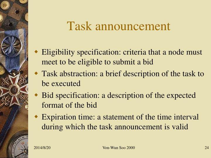 Task announcement