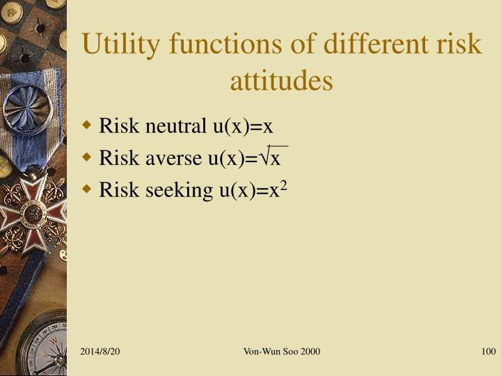 Utility functions of different risk attitudes