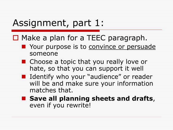 Assignment, part 1: