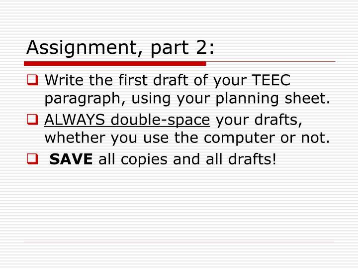 Assignment, part 2: