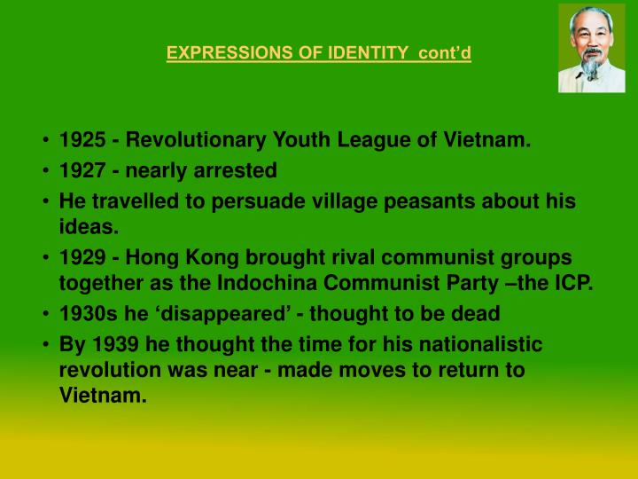 EXPRESSIONS OF IDENTITY  cont'd