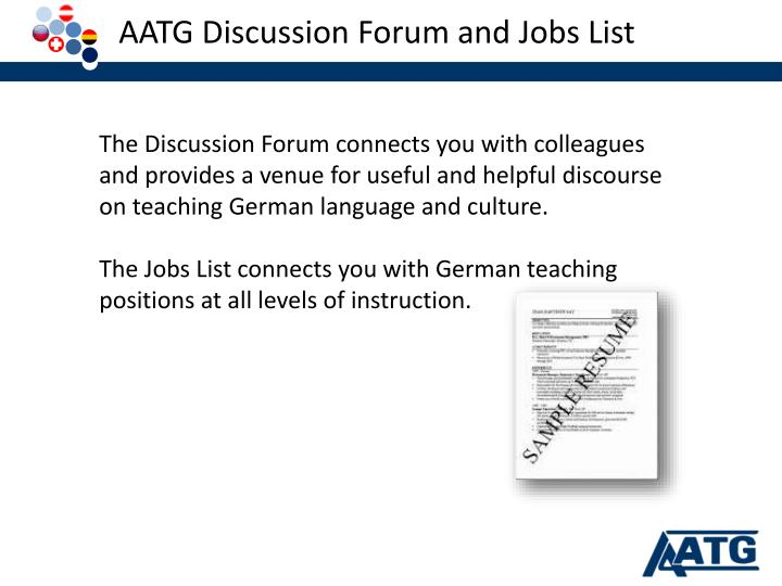 AATG Discussion Forum and Jobs List