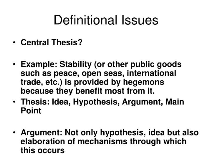 Definitional Issues
