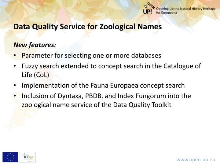 Data Quality Service for Zoological Names