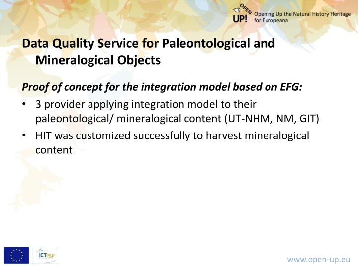 Data Quality Service for Paleontological and Mineralogical Objects