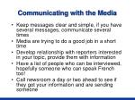 communicating with the media