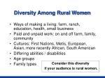 diversity among rural women