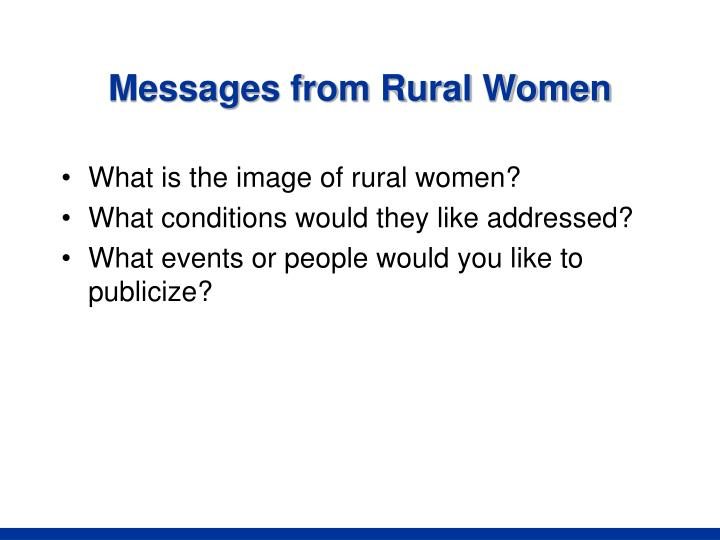 Messages from Rural Women