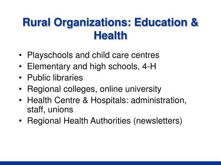 Rural Organizations: Education & Health