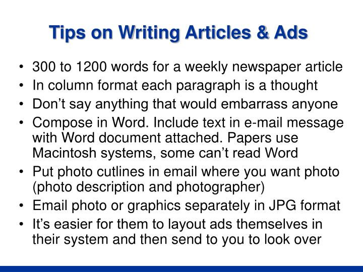 Tips on Writing Articles & Ads