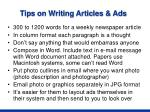 tips on writing articles ads