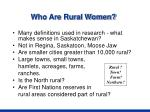 who are rural women