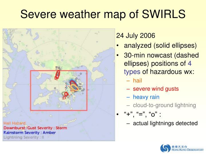 Severe weather map of SWIRLS