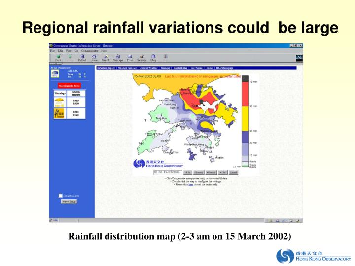Regional rainfall variations could  be large