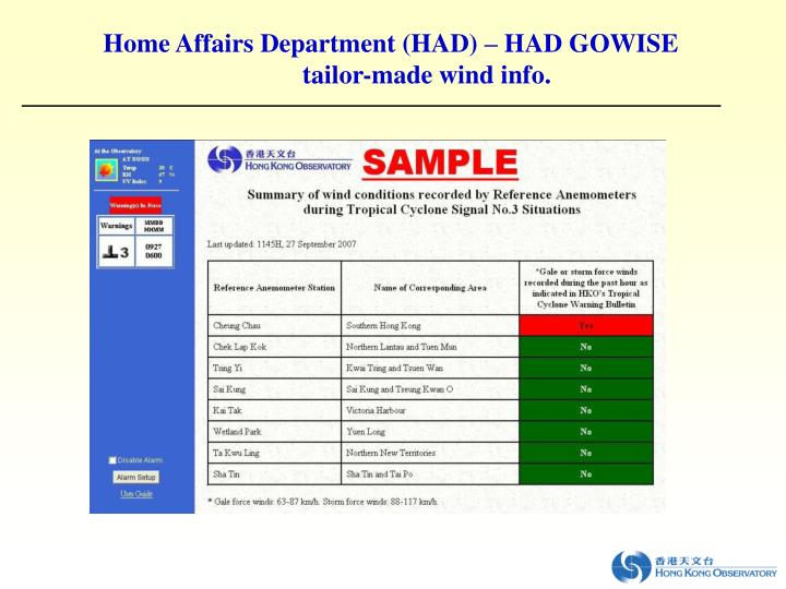 Home Affairs Department (HAD) – HAD GOWISE