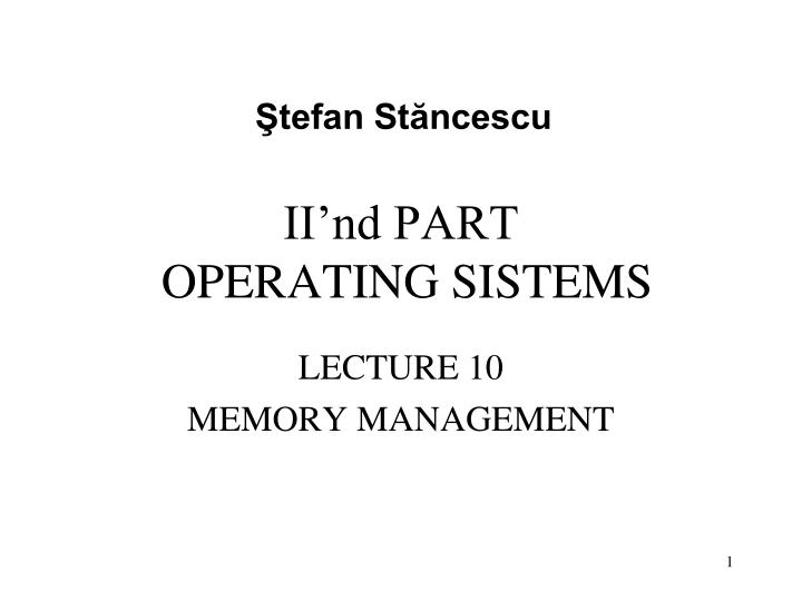 ii nd part operating sistems