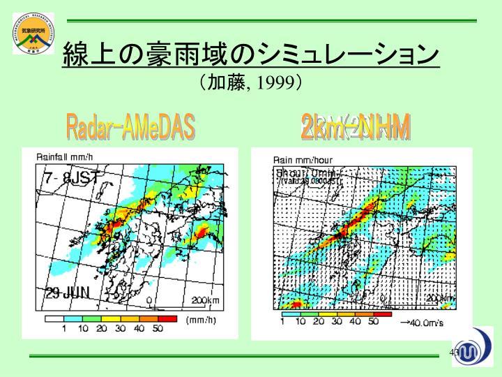 線上の豪雨域のシミュレーション