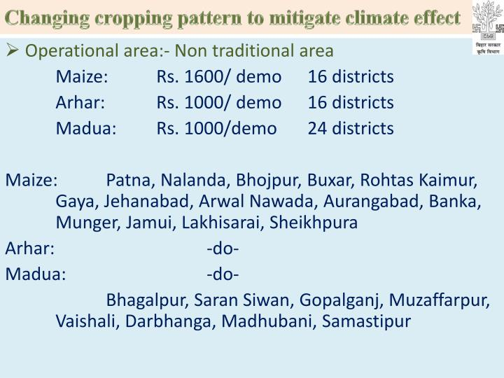 Changing cropping pattern to mitigate climate effect
