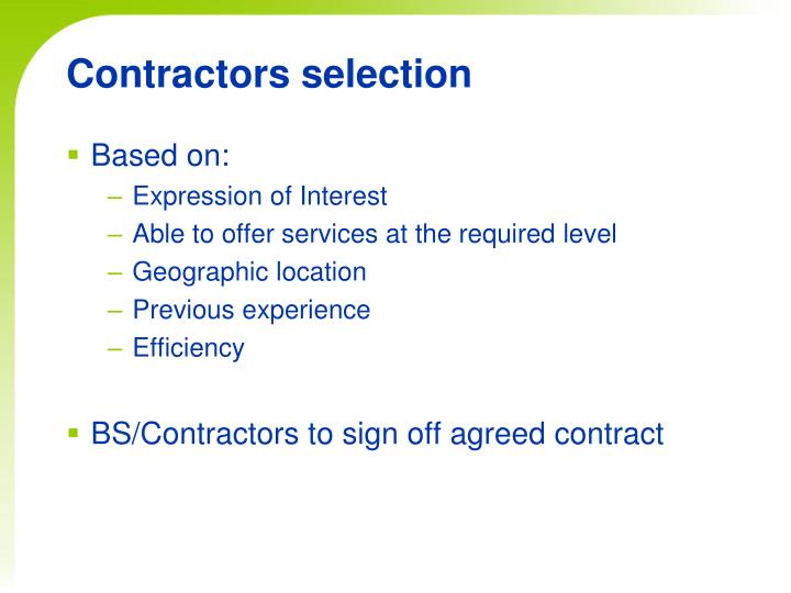 Contractors selection