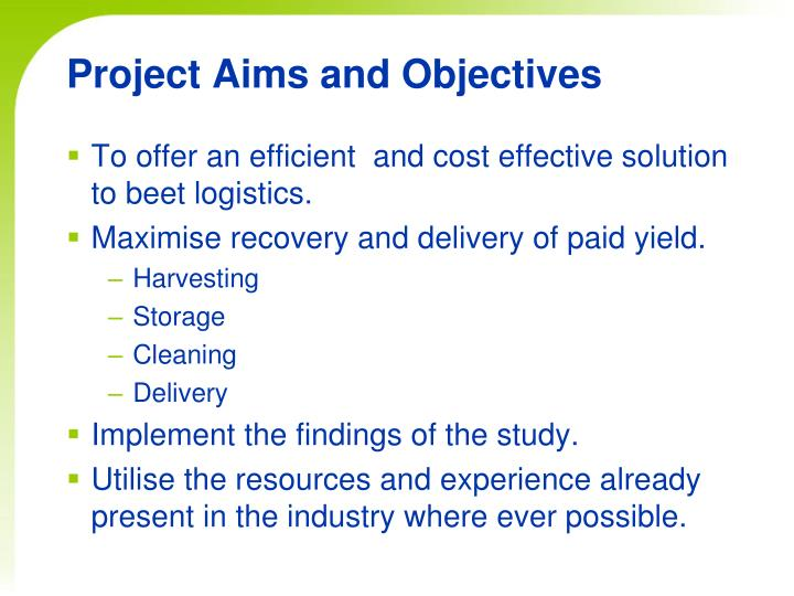 Project aims and objectives