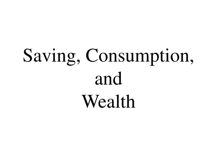 Saving consumption and wealth