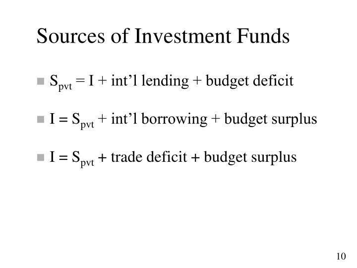 Sources of Investment Funds