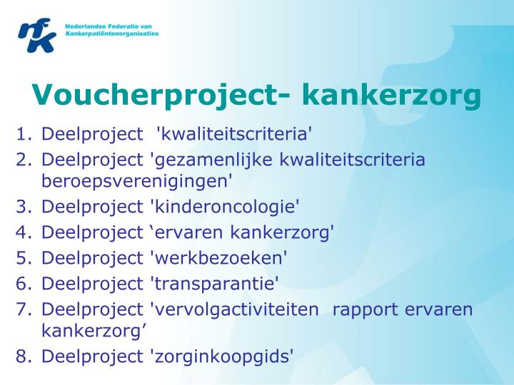 Voucherproject- kankerzorg
