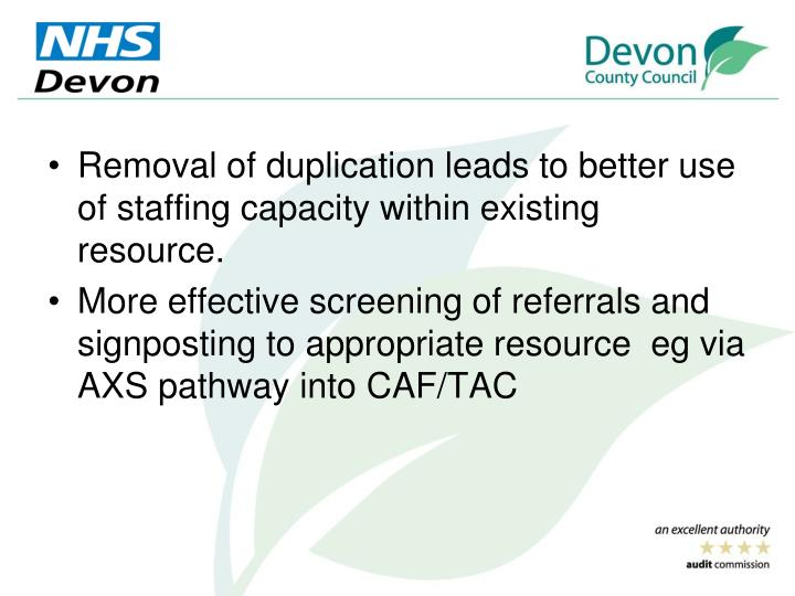 Removal of duplication leads to better use of staffing capacity within existing resource.