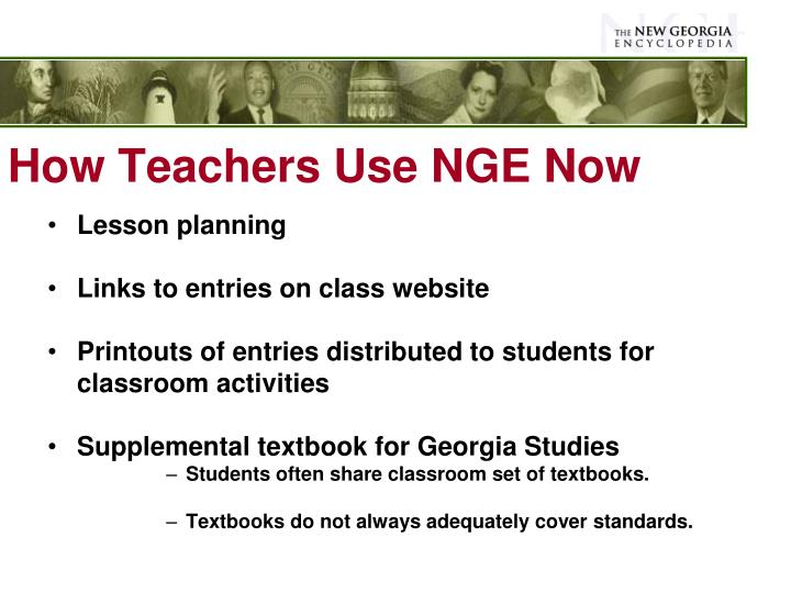 How Teachers Use NGE Now
