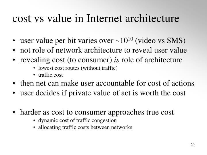 cost vs value in Internet architecture