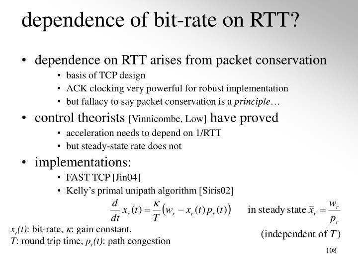 dependence of bit-rate on RTT?