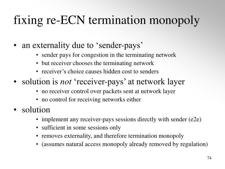 fixing re-ECN termination monopoly