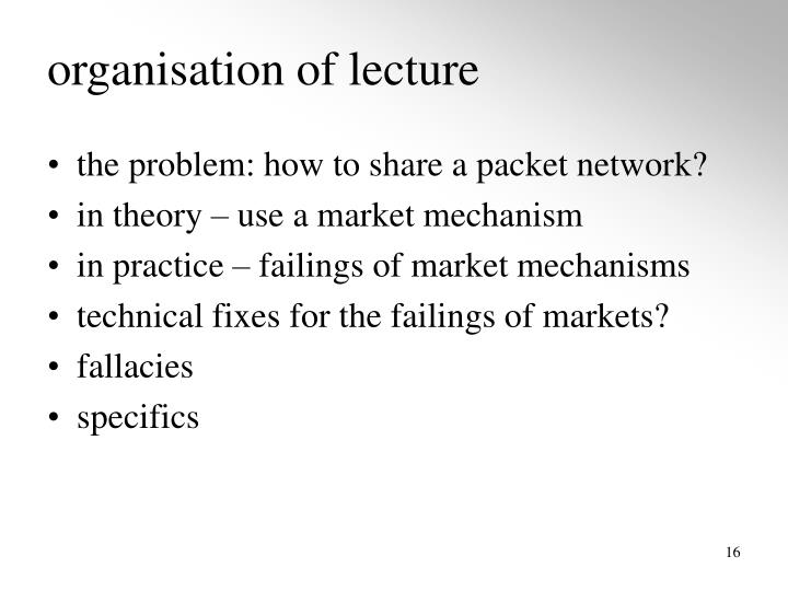 organisation of lecture