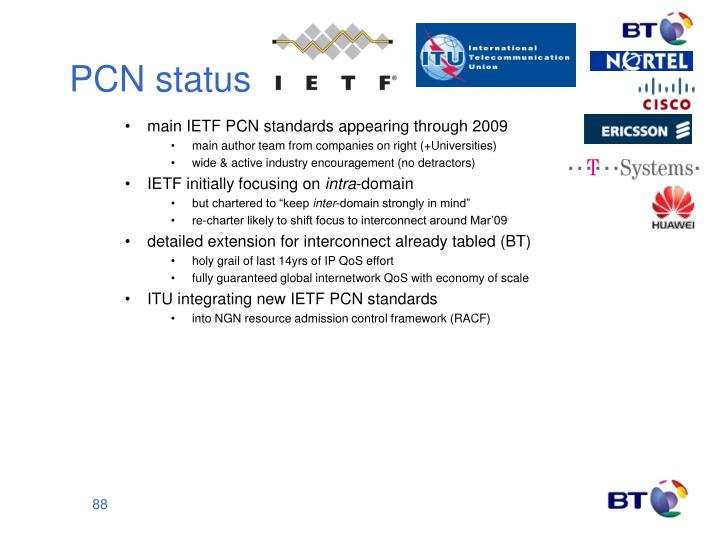 main IETF PCN standards appearing through 2009