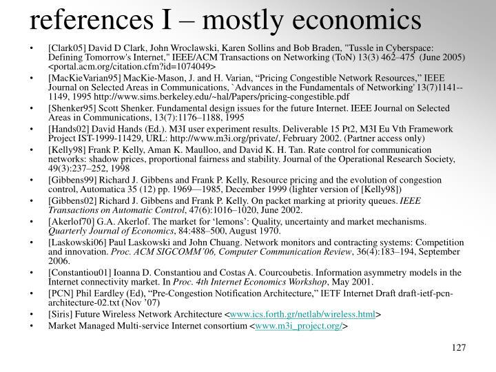 references I – mostly economics