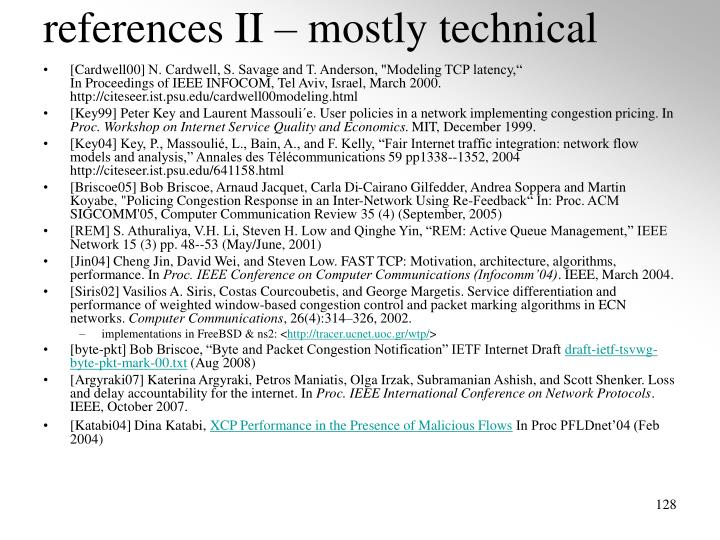 references II – mostly technical
