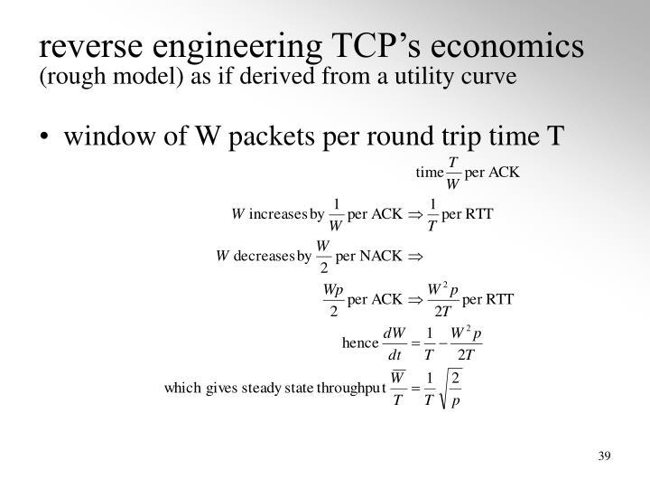 reverse engineering TCP's economics