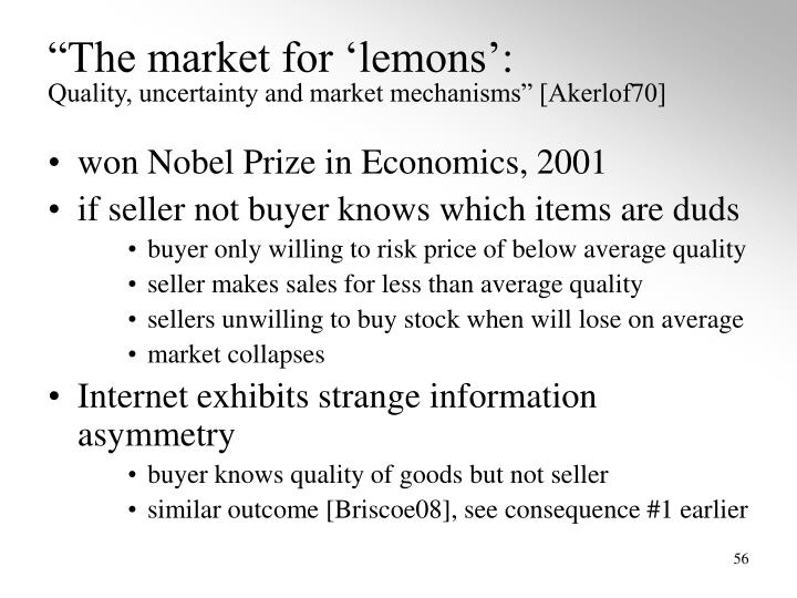 """""""The market for 'lemons':"""