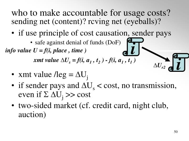 who to make accountable for usage costs?