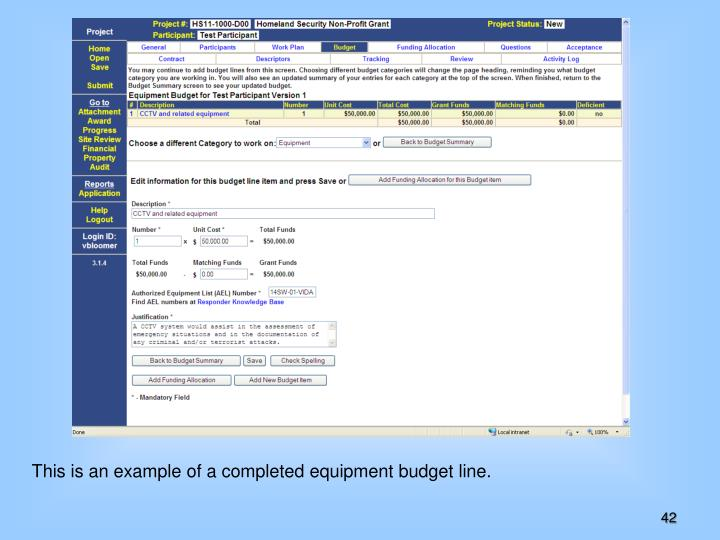 This is an example of a completed equipment budget line.