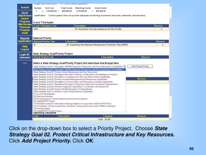 Click on the drop-down box to select a Priority Project.  Choose