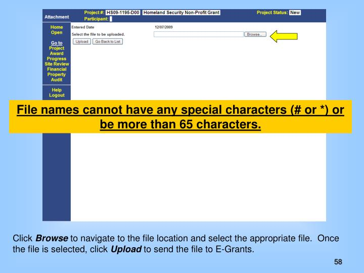 File names cannot have any special characters (# or *) or be more than 65 characters.